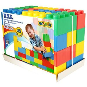wader xxl bausteine bausteinblock 45 st ck spielbausteine riesen baukl tze ebay. Black Bedroom Furniture Sets. Home Design Ideas