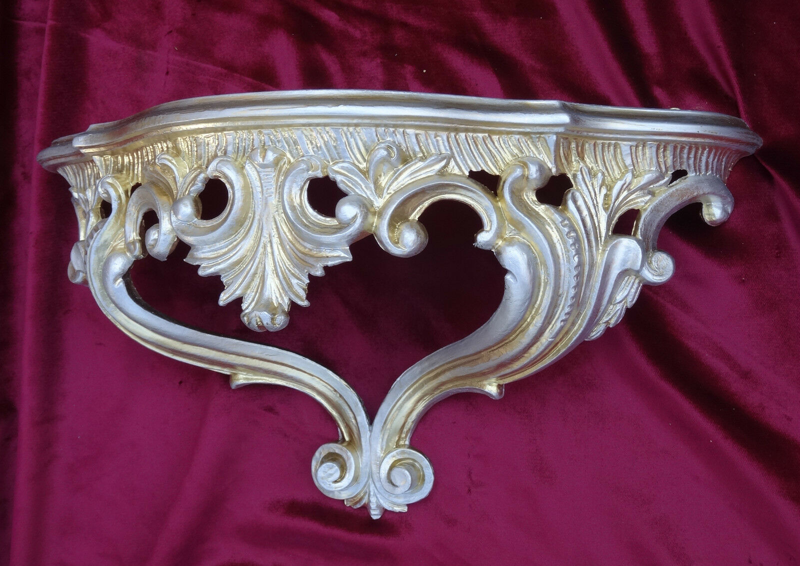 console applique murale console rangement or argent repro baroque 38x20x15 5 ebay. Black Bedroom Furniture Sets. Home Design Ideas