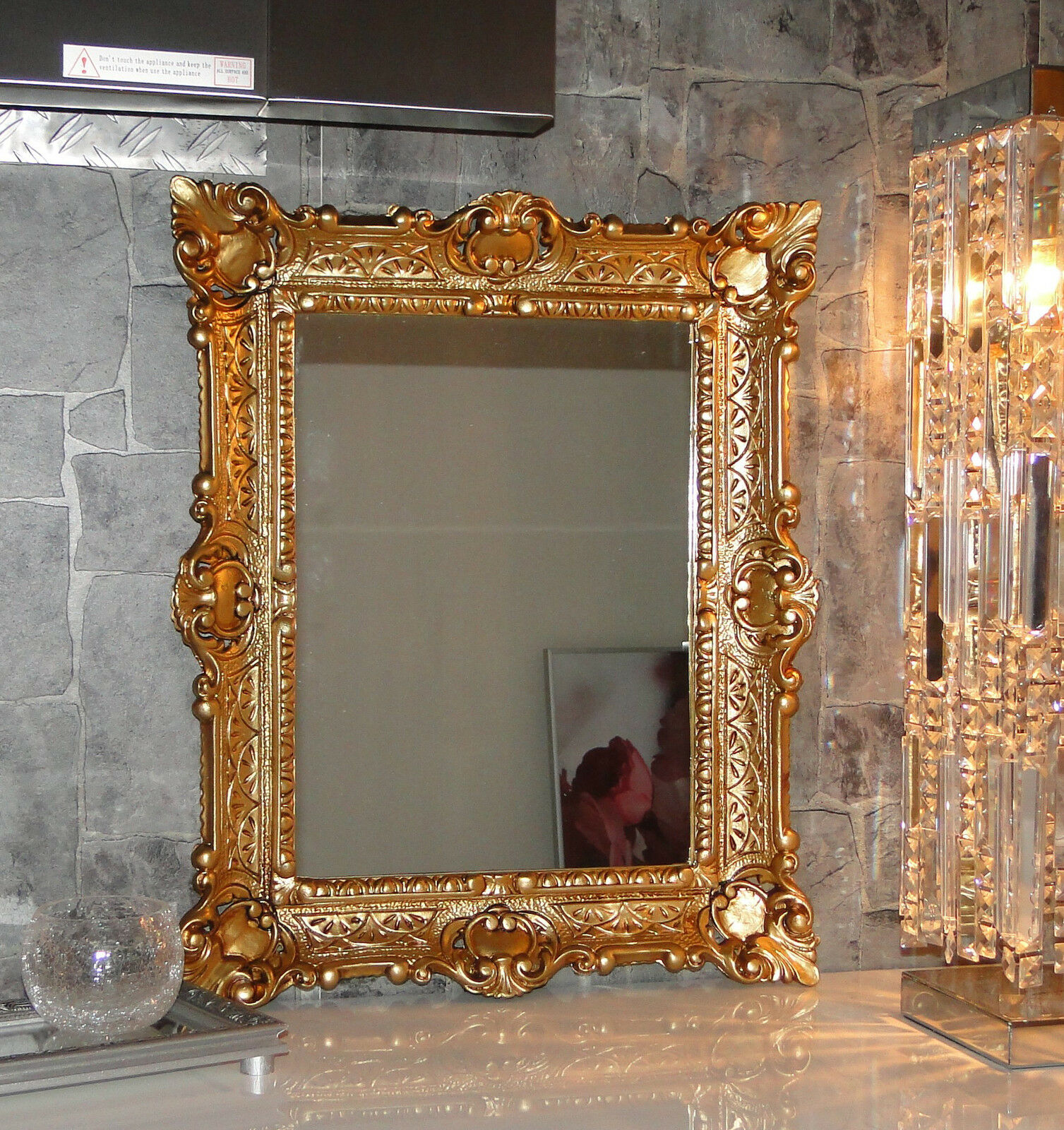 wall mirror gold antique baroque bathroom floor vanity 56x46 1 ebay. Black Bedroom Furniture Sets. Home Design Ideas