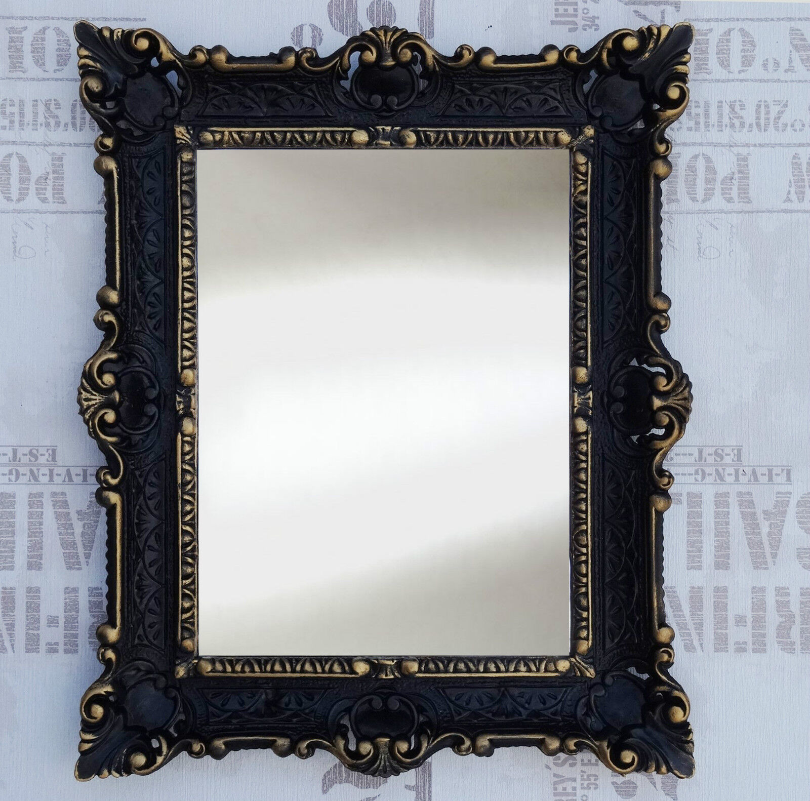 wall mirror black gold antique baroque bath floor mirror vanity mirror 56x46 ebay. Black Bedroom Furniture Sets. Home Design Ideas