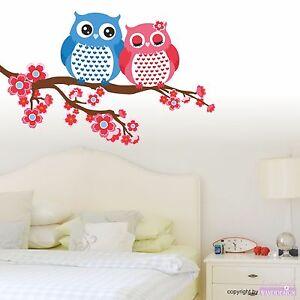 wandtattoo eulenpaar eule paar ast bl ten baum liebe p rchen wandaufkleber ebay. Black Bedroom Furniture Sets. Home Design Ideas