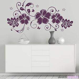 Details zu wandtattoo hibiskustraum blüten blumen hibiskus sterne