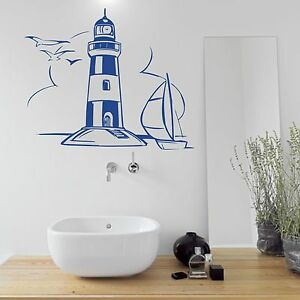 wandtattoo leuchtturm bad turm wandsticker wandaufkleber k ste wasser schiff. Black Bedroom Furniture Sets. Home Design Ideas