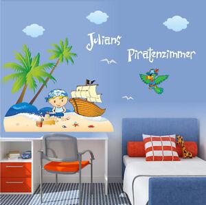 wandtattoo piratenzimmer mit namen palmen papagei schiff pirat wandaufkleber ebay. Black Bedroom Furniture Sets. Home Design Ideas