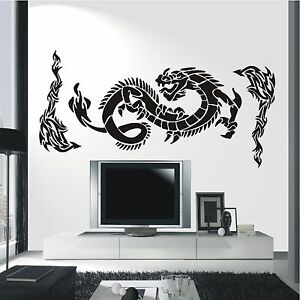 wandtattoo wandaufkleber china drache asia style feuerdrache tribals 255 xl ebay. Black Bedroom Furniture Sets. Home Design Ideas