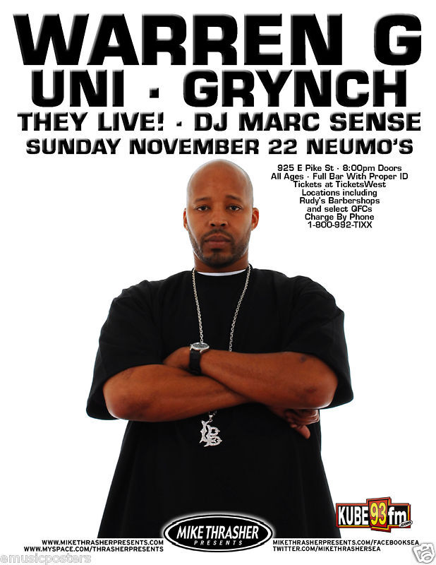 West Coast Rappers Poster Uni   grynch 2009 seattle concert tour    West Coast Rappers Poster