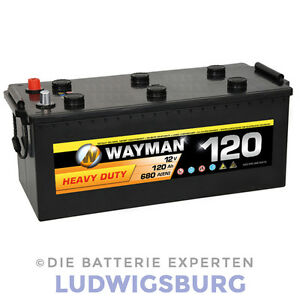 wayman lkw batterie 12v 120ah 680a w120hd ersetzt 110ah. Black Bedroom Furniture Sets. Home Design Ideas