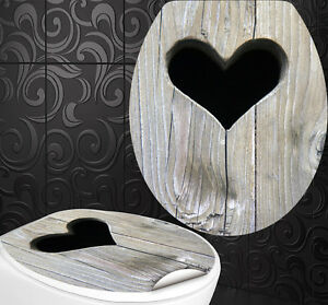 wc sitz aufkleber holz herz design folie dekor toilettendeckel klodeckel ebay. Black Bedroom Furniture Sets. Home Design Ideas