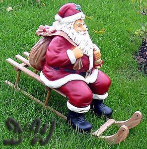 weihnachtsmann nikolaus auf schlitten deko weihnachten weihnachtsdeko advent ebay. Black Bedroom Furniture Sets. Home Design Ideas