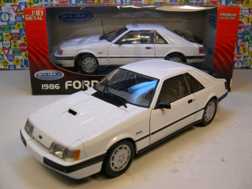 WELLY 1:18 SCALE WHITE 1986 FORD MUSTANG SVO WITH A TWO PIECE BLACK SPOILER in Toys & Hobbies, Diecast & Toy Vehicles, Cars, Trucks & Vans | eBay