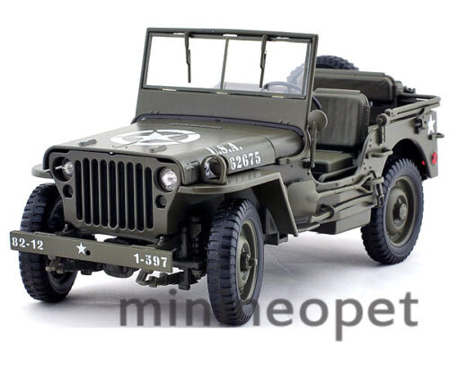 WELLY 18036 WILLYS 1/4 TON US ARMY JEEP TOP DOWN 1/18 DIECAST GREEN in Toys & Hobbies, Diecast & Toy Vehicles, Cars, Trucks & Vans | eBay