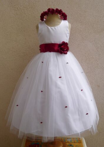 WHITE APPLE RED WEDDING PARTY FLOWER GIRL DRESS 6M 12M 18M 24M 2 4 6 8 10 12 14 in Clothing, Shoes & Accessories, Wedding & Formal Occasion, Girls' Formal Occasion | eBay