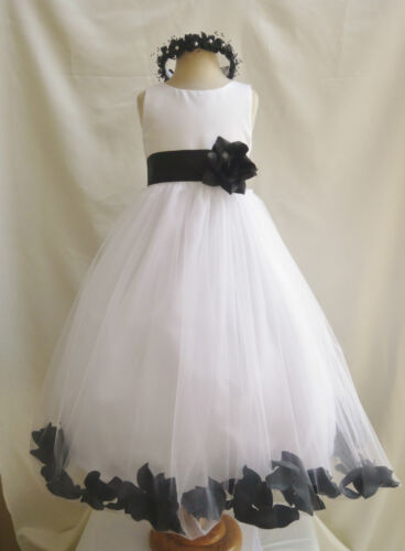 WHITE BLACK ORANGE YELLOW BLUE PURPLE ROSE PETAL PAGEANT GOWN FLOWER GIRL DRESS in Clothing, Shoes & Accessories, Wedding & Formal Occasion, Girls' Formal Occasion | eBay