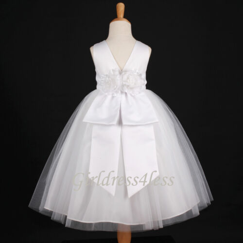 WHITE COMMUNION BAPTISM WEDDING PAGEANT FLOWER GIRL DRESS 12-18M 2 4 6 8 10 12 in Clothing, Shoes & Accessories, Wedding & Formal Occasion, Girls' Formal Occasion | eBay