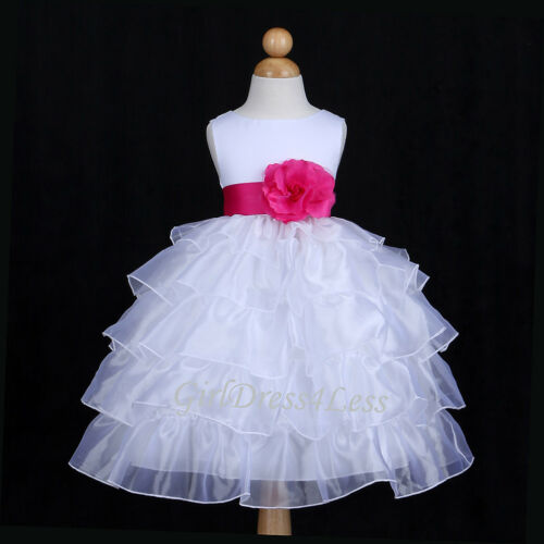 WHITE/FUCHSIA HOT PINK ORGANZA WEDDING FLOWER GIRL DRESS 12M 18M 24M 2 4 6 8 10 in Clothing, Shoes & Accessories, Wedding & Formal Occasion, Girls' Formal Occasion | eBay