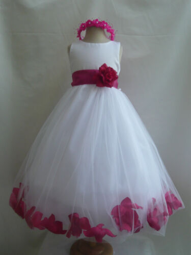 WHITE FUCHSIA/HOT PINK PRINCESS FLOWER GIRL DRESS 6-12-18-24 MO 2 4 6 8 10 12 14 in Clothing, Shoes & Accessories, Wedding & Formal Occasion, Girls' Formal Occasion | eBay