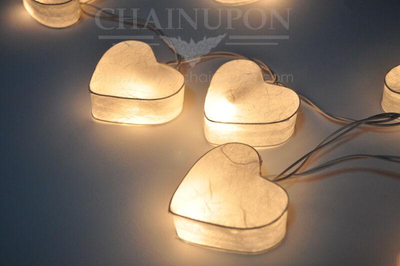 White Heart Lantern String Decoration Home Teen Bedroom