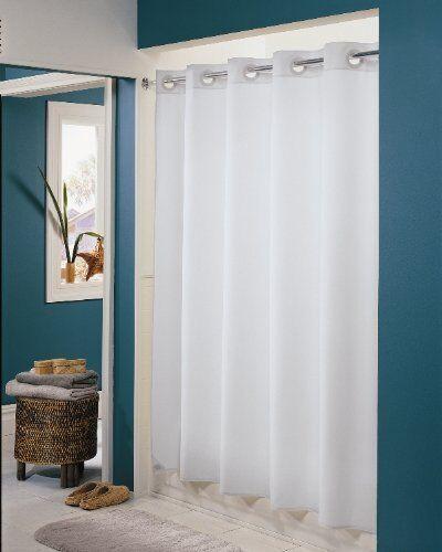 White Hookless 71 X 74 Easy Hang Plain Weave Fabric Hotel Style Shower Curtain Ebay