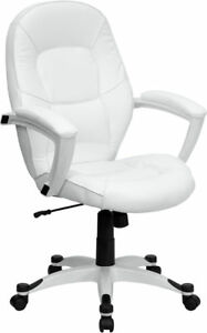 white leather executive computer office desk chair ebay