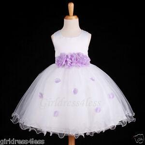 WHITE LILAC PRINCESS WEDDING FLOWER GIRL TULLE DRESS 6M 12M 18M 2 3 4 5 6 7 8 10