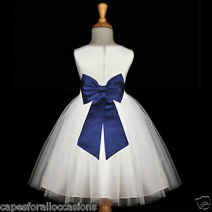 Navy Blue Wedding Dresses WHITE NAVY BLUE WEDDING BRIDESMAID GOWN NEW FLOWER GIRL DRESS 12-18M 2 ...