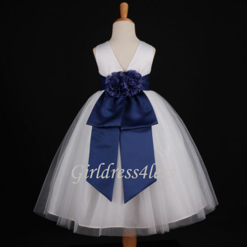 WHITE/NAVY BLUE WEDDING PAGEANT PARTY FLOWER GIRL DRESS 12M 2 3/4 5/6 8 10 12 in Clothing, Shoes & Accessories, Wedding & Formal Occasion, Girls' Formal Occasion | eBay