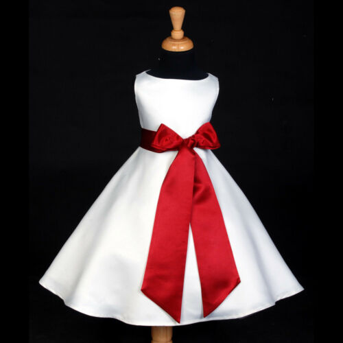 WHITE PAGEANT HOLIDAY APPLE RED A-LINE FLOWER GIRL DRESS 12-18M 2 4 6 8 10 12 14 in Clothing, Shoes & Accessories, Wedding & Formal Occasion, Girls' Formal Occasion | eBay