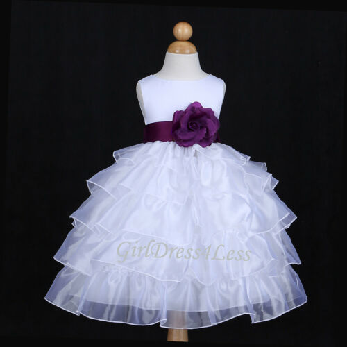 WHITE/PLUM DARK PURPLE ORGANZA WEDDING FLOWER GIRL DRESS 12M 18M 24M 2 4 6 8 10 in Clothing, Shoes & Accessories, Wedding & Formal Occasion, Girls' Formal Occasion | eBay