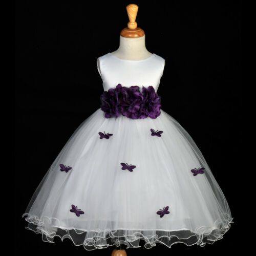 WHITE PLUM PURPLE BUTTERFLIES PAGEANT FLOWER GIRL DRESS 12M-18M 2 3T 4 5T 6 8 10 in Clothing, Shoes & Accessories, Wedding & Formal Occasion, Girls' Formal Occasion | eBay
