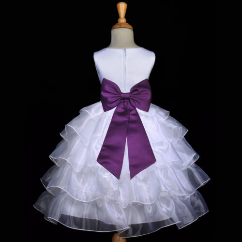 WHITE PLUM PURPLE PAGEANT WEDDING TIERED ORGANZA FLOWER GIRL DRESS 2 3T 4 6 8 10 in Clothing, Shoes & Accessories, Wedding & Formal Occasion, Girls' Formal Occasion | eBay