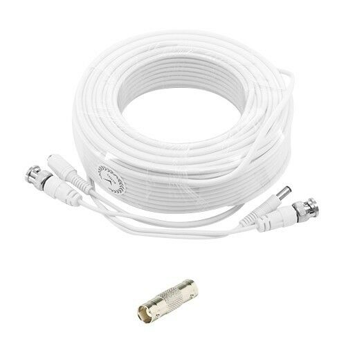 White Premium 100ft Cctv Surveillance Bnc Extension Cables