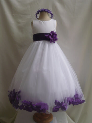 WHITE PURPLE WEDDING BRIDESMAID INFANT TODDLER PAGEANT DANCING FLOWER GIRL DRESS in Clothing, Shoes & Accessories, Wedding & Formal Occasion, Girls' Formal Occasion | eBay