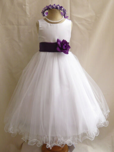 WHITE PURPLE WEDDING PAGEANT EASTER FLOWER GIRL DRESS 18M 24M 2 4 6 8 10 12 14 in Clothing, Shoes & Accessories, Wedding & Formal Occasion, Girls' Formal Occasion | eBay