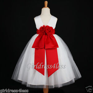 Dress  Christmas Party on White Red Holiday Bridesmaid Pageant Party Flower Girl Dress 12m 2 4 6