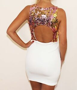 White Bodycon Dress on White Rose Gold Sequin Cutout Backless Bodycon Ponti Mini Dress Sizes