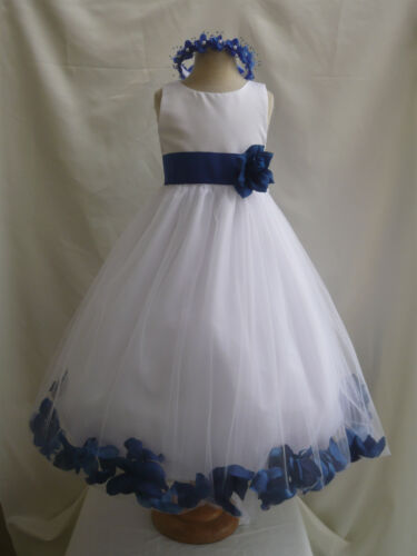 WHITE ROYAL BLUE BRIDAL PARTY FLOWER GIRL DRESS 6-12-18-24 MO 2 4 6 8 10 12 14 in Clothing, Shoes & Accessories, Wedding & Formal Occasion, Girls' Formal Occasion | eBay