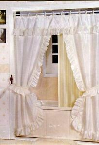 White Ruffled Double Swag Fabric Shower Curtain Liner Matching Rings New Ebay