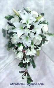 Flower Delivery Services on Tiger Lily Rose Bridal Bouquet Wedding Silk Flowers Cascade New   Ebay