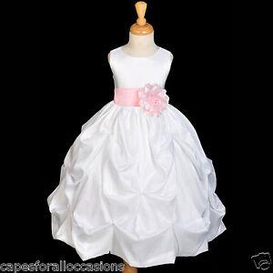 White Taffeta Easter Communion Pink Wedding Flower Girl