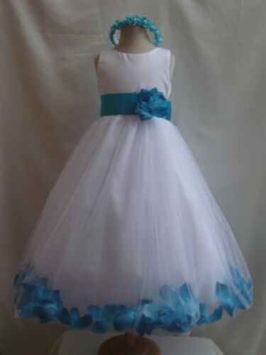 WHITE TURQUOISE BLUE BRIDAL FLOWER GIRL DRESSES 6-12-18-24 MO 2 4 6 8 10 12 14 in Clothing, Shoes & Accessories, Wedding & Formal Occasion, Girls' Formal Occasion | eBay