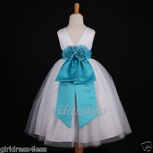 White Dress  Girls on Dresses On White Turquoise Blue Pageant Wedding Flower Girl Dress