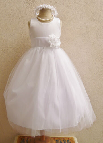 WHITE WITH COLOR SASH TULLE BRIDAL PARTY PAGEANT RECITAL GOWN FLOWER GIRL DRESS in Clothing, Shoes & Accessories, Wedding & Formal Occasion, Girls' Formal Occasion | eBay