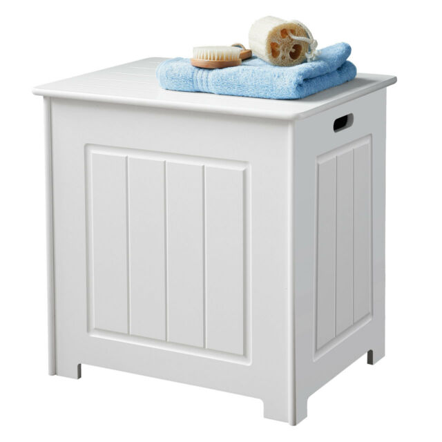 White Wood Bathroom Storage Basket Laundry Bin Chest With Hinged Top Lid Ebay