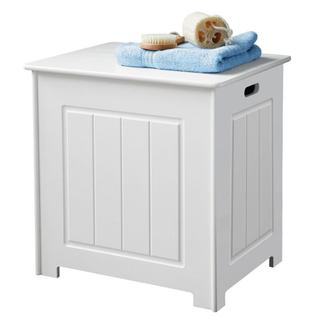 White wood bathroom storage basket laundry bin chest with for Bathroom cabinets 40cm wide