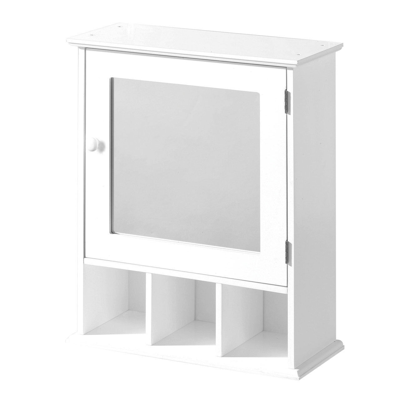 White Wood Wall Mounted Bathroom Cabinet Unit Mirrored