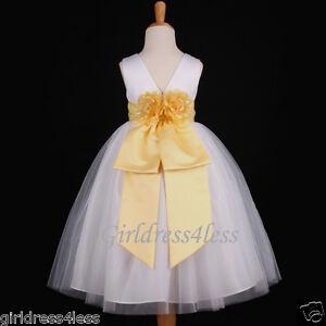 White Yellow Wedding Pageant Choir Flower Girl Tulle Dress 12 18M 2 4