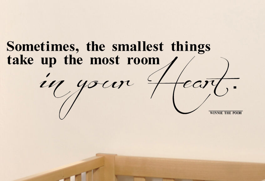 POOH VINYL WALL DECALS STICKER HEART LETTERING QUOTE NURSERY BABY ART