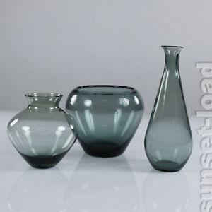 WMF-Glas-Vasen-Wilhelm-Wagenfeld-3er-Konvolut-50er-Jahre-Turmalin-vintage-alt
