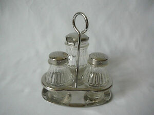 wmf menagerie menage tischset glas cromargan salz pfeffer senf mit l ffel ebay. Black Bedroom Furniture Sets. Home Design Ideas