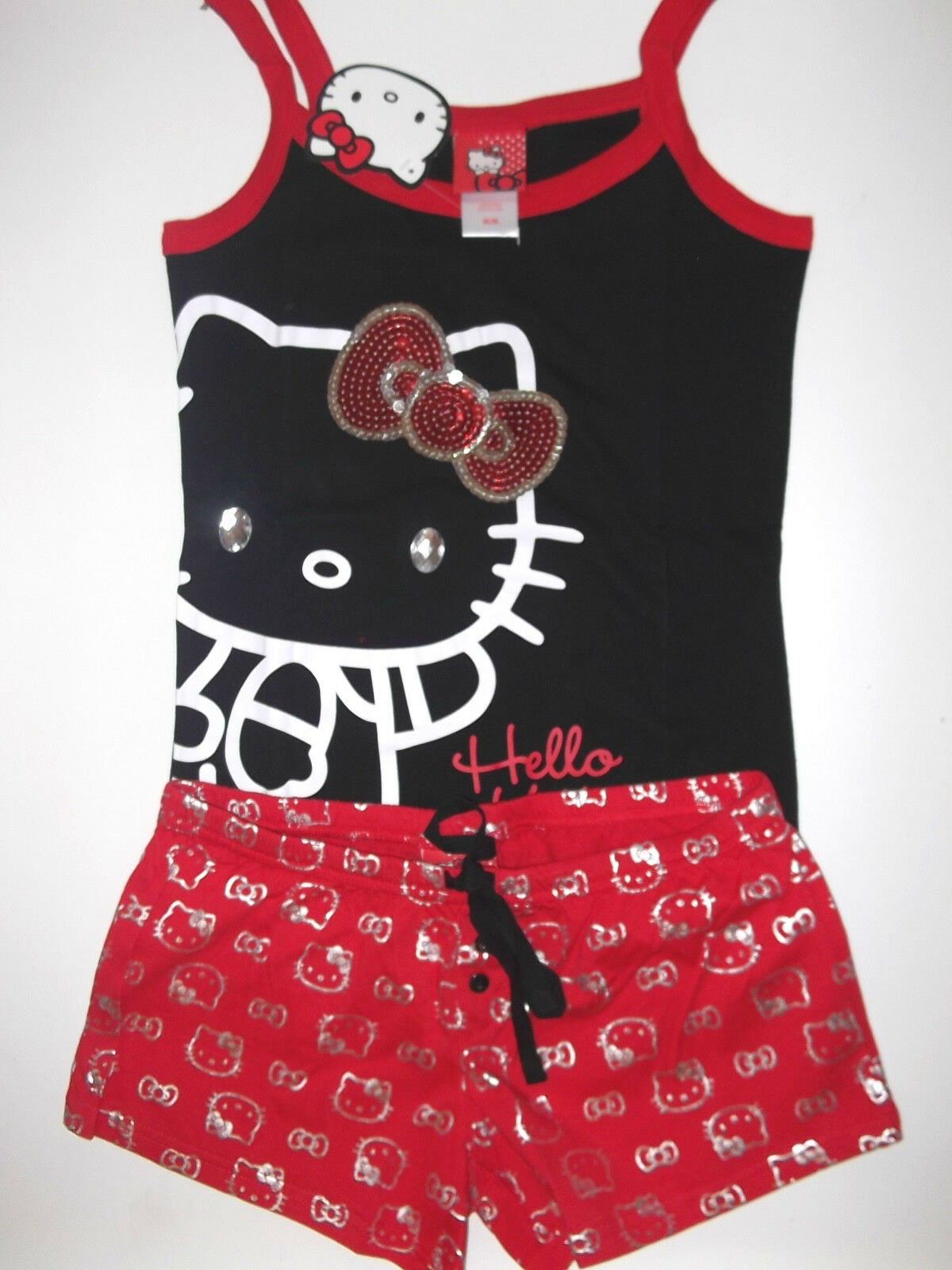 WMS Womans JR HELLO KITTY Pajama PJ Shorts SET SLEEPWEAR M L XL Black